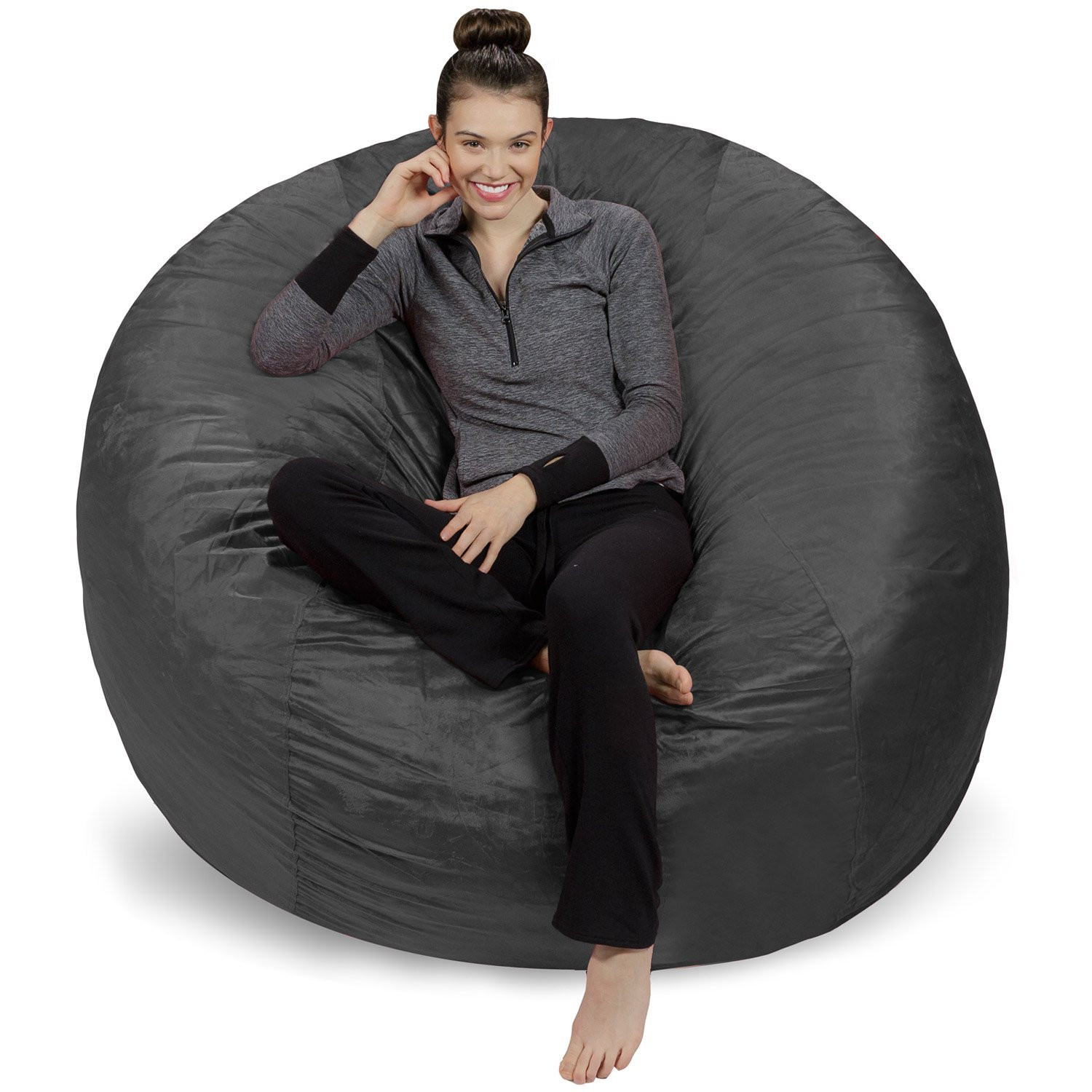 Sofa Sack – Plush Ultra Soft Bean Bags Chairs for Kids, Teens, Adults – Memory Foam Beanless Bag Chair with Microsuede Cover – Foam Filled Furniture for Dorm Room – Charcoal 6