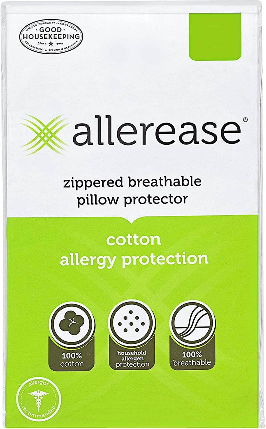 B0017060YM AllerEase 100% Cotton Allergy Protection Pillow Protectors – Hypoallergenic, Zippered, Allergist Recommended, Prevent Collection of Dust Mites and Other Allergens, Queen Sized, 20 x 30 (Set of 2) 71AnimATMrL