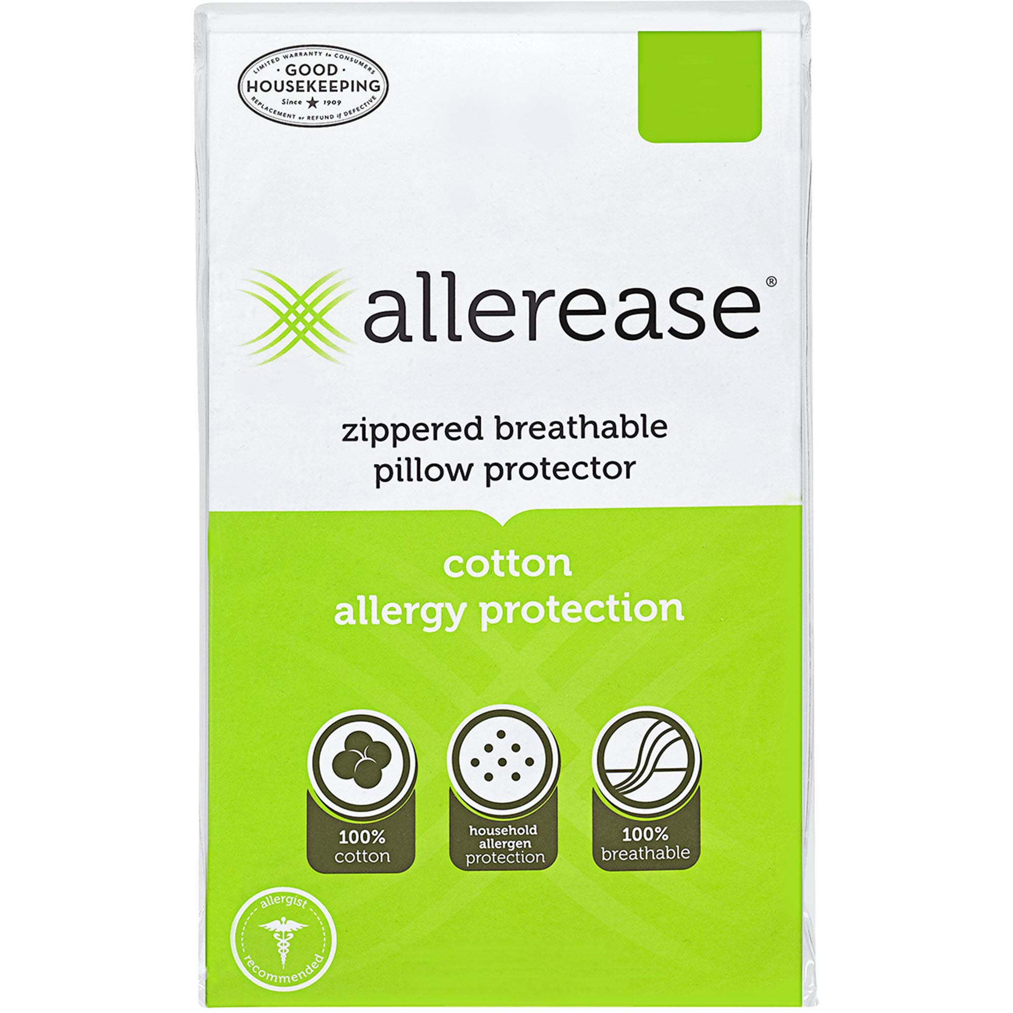 Aller-Ease AllerEase Cotton Allergy Protection, Standard, 4 Pack Pillow Protectors White