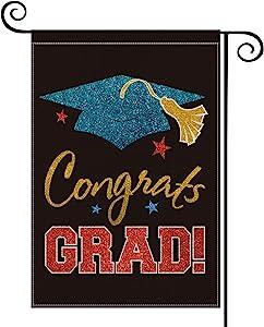 AVOIN Congrats Grad Garden Flag Vertical Double Sided Diploma Cap, 2020 Graduation Yard Outdoor Decoration 12.5 x 18 Inch