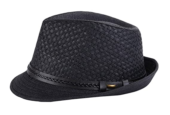 Jimall Men Women Short Brim Jazz Hat Straw Cap Sun Protection Hats Black 398f2a93ac0