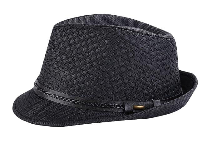 Jimall Men Women Short Brim Jazz Hat Straw Cap Sun Protection Hats
