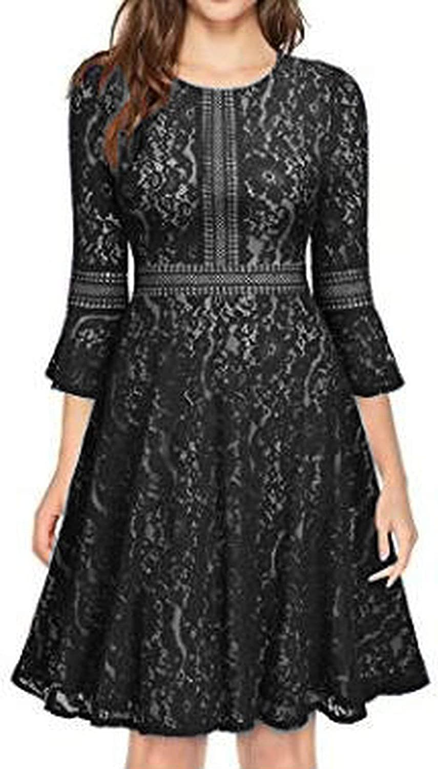 Black L Women Vintage Full Lace Contrast Flare Sleeve Big Swing A-Line Dress for Evening Cocktail Wedding Party Business Occasion