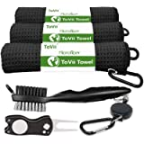 ToVii Golf Towel Microfiber Waffle Pattern Club Groove Cleaner Brush Foldable Divot Tool with Magnetic Golf Gifts…
