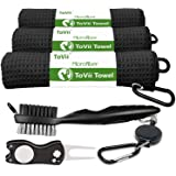 ToVii Golf Towel Microfiber Waffle Pattern Club Groove Cleaner Brush Foldable Divot Tool with Magnetic Golf Gifts Accessories