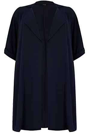 3e93bff6b7404 Yours Clothing Women s Plus Size Lightweight Duster Jacket with Waterfall  Front Size 16 Navy