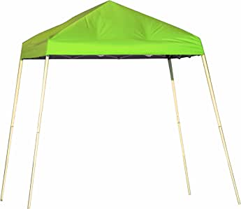ShelterLogic 22723 Pop-up Slant Leg Canopy with Spring Green Cover and Black Bag, 10 by 10-Feet