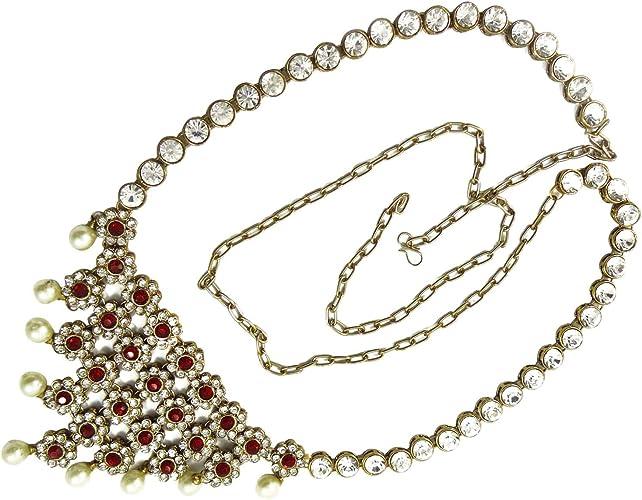 Women/'s Belt Bracelet Necklace Jewelry Set Crystal Statement Ring Earrings