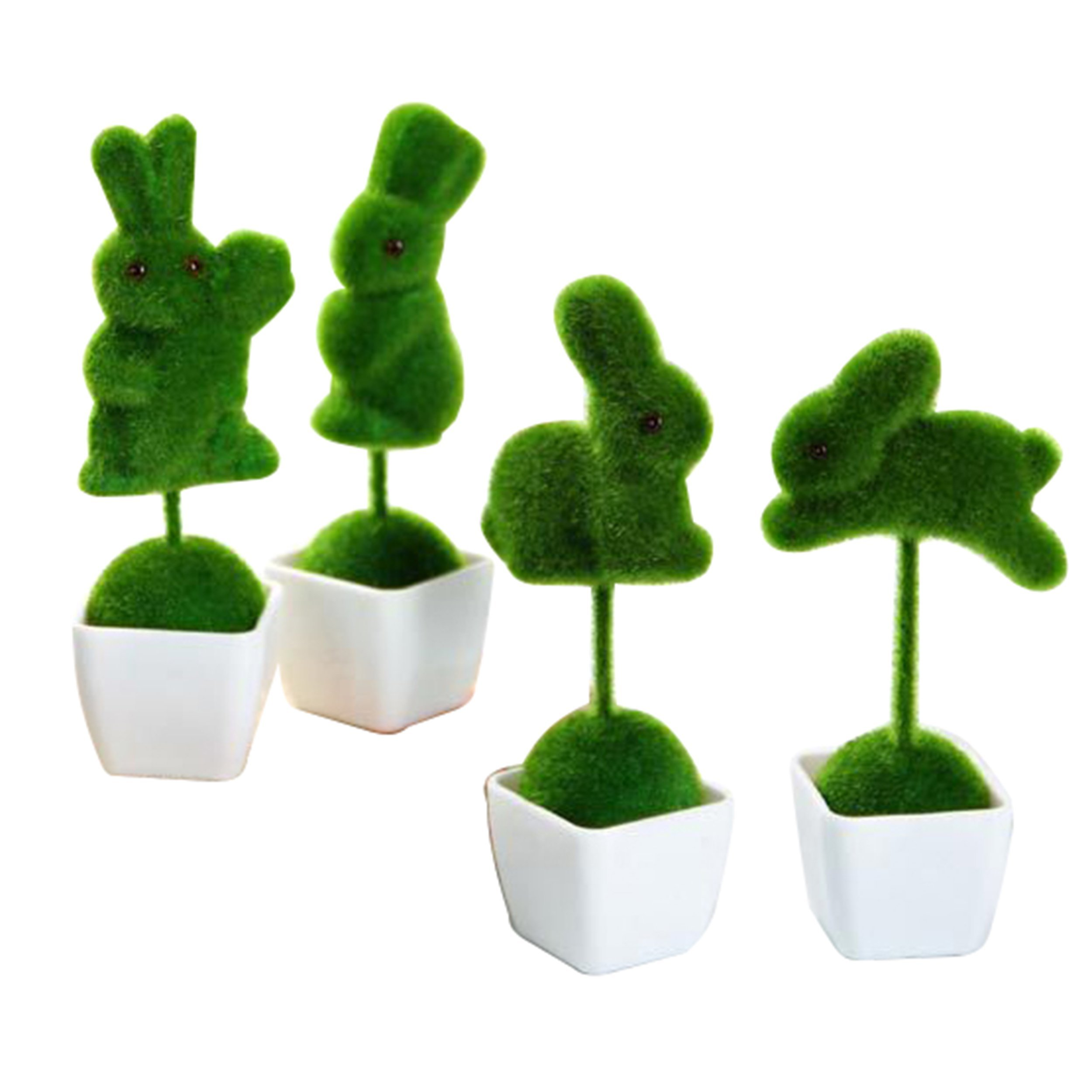 XuanMax Artificial Turf Ornaments Simulation Artificial Plants in Pot Faux Potted Bonsai Fake Green Grass Greenery Decoration for Indoor Outdoor Balcony Decor (Animal)