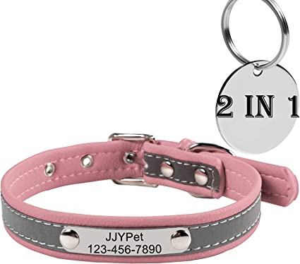 Personalised Dog Collar Leather Look /& Felt Available Laser Engraved FREE POST