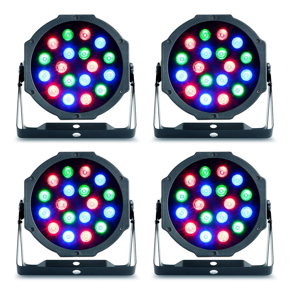 4 x Party Light Sound LED Par Can Uplighter RGB DIsco DJ Lighting inc Remote Party Light & Sound