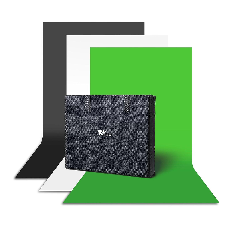 Amzdeal Fondo de Fotografía Kit 3m x 1.6m (Negro / Blanco / Verde)Telón de Fondo con Bolsa de Transporte y 3 Clips de Fotografía para Estudio ...