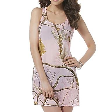 86181fadb4bb1 Realtree Womens Pink Semi-Sheer Camo Swim Suit Cover Up Camouflage Dress  Medium