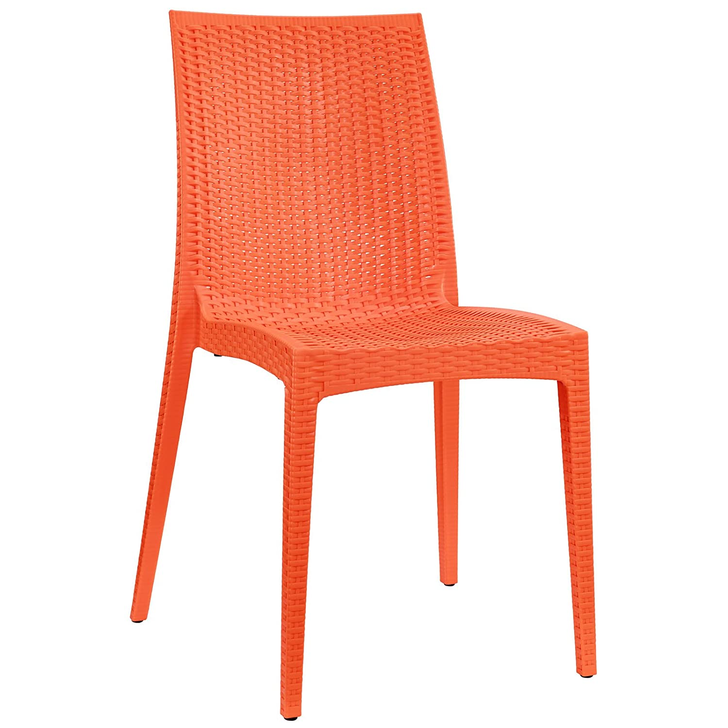 Modway Intrepid Contemporary Modern Molded Plastic Dining Side Chair In Orange
