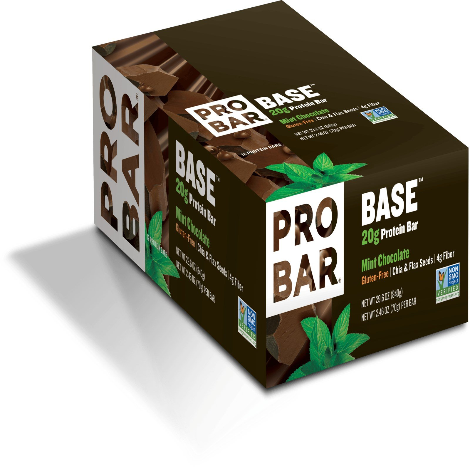 ProBar, Base, 20 g Protein Bar, Mint Chocolate, 12 Bars, 2.46 oz (70 g) Each - 3PC by Probar