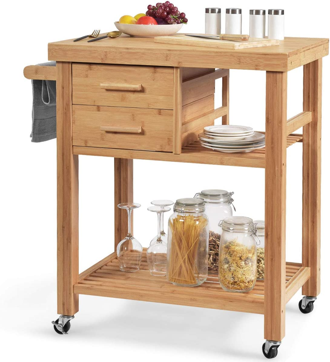 Giantex Kitchen Island, Bamboo Island Cart, Kitchen Trolley Cart on Wheels, Rolling Kitchen Cart, 2 Drawers, Towel Rack, Casters with Lock (Nutural)