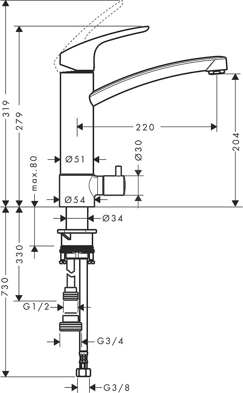 Hansgrohe 31806800 Focus grifo de cocina con ca/ño giratorio 360/º acero inoxidable