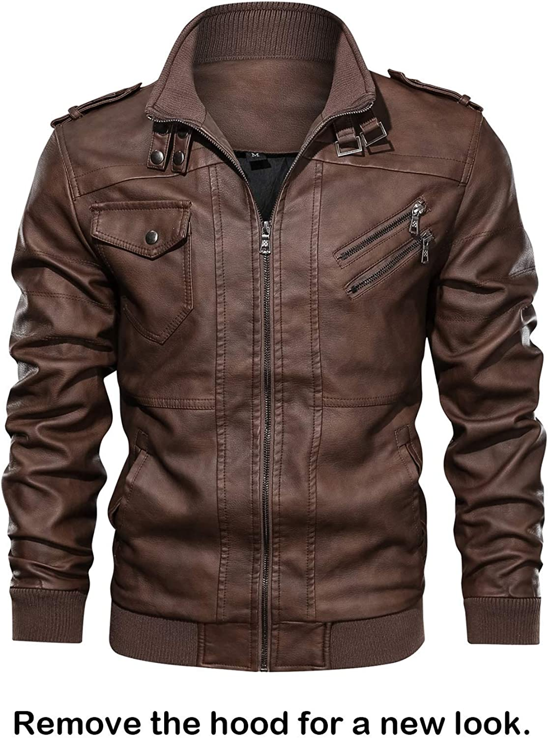 HOOD CREW Men/'s Casual Stand Collar PU Faux Leather Zip-Up Motorcycle Bomber Jacket with a Removable Hood