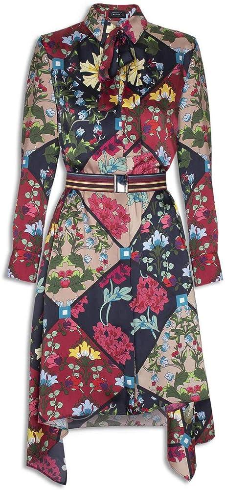 MIRTO Vestido Estampado Flores Multicolor para Mujer 42: Amazon.es: Ropa y accesorios