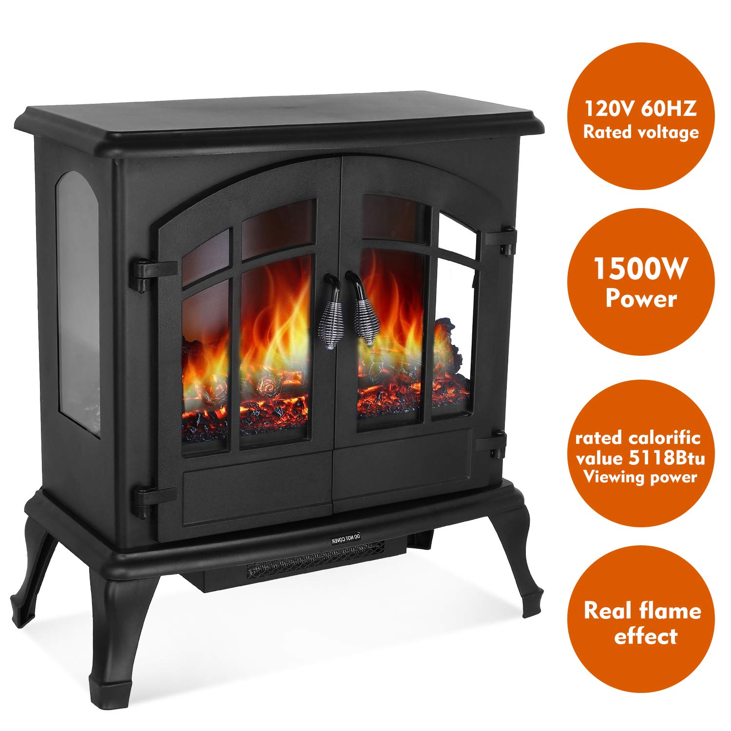 HEMBOR 24 Electric Fireplace Heater, 1500W Freestanding Stove with Realistic Burning Flame, Overheating Safety Protection, Easy Knob Button Control and 3D Viewing Experience, Home Furniture Black
