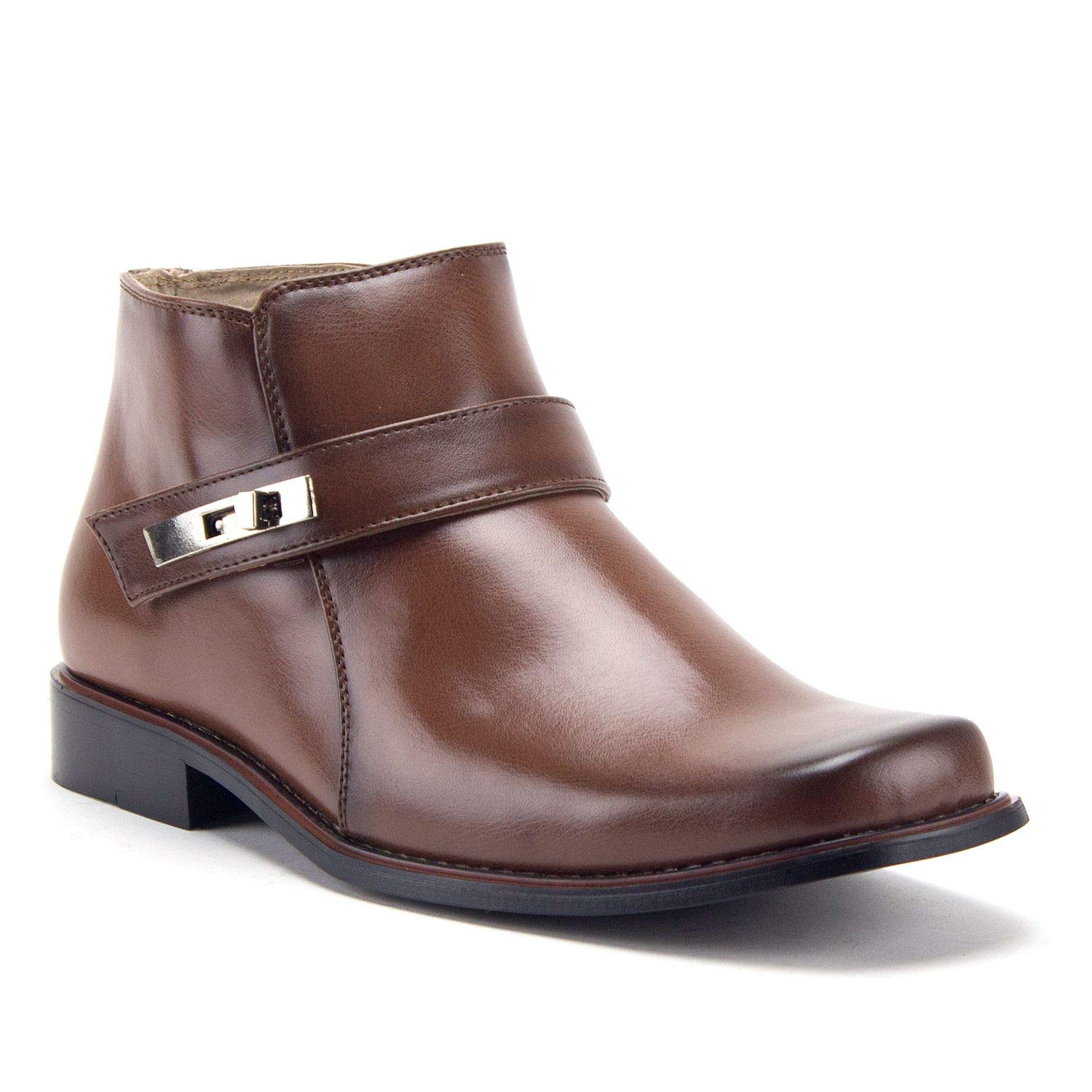 90ae9fbd0d821 Jazame Men's Ankle High Square Toe Casual Chelsea Dress Boots