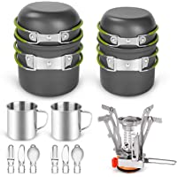 Odoland 16pcs Camping Cookware Mess Kit for 2 People, Lightweight Pot Pan Mini Stove with 2 Cups, Fork Knife Spoon Kits for Backpacking, Outdoor Camping Hiking and Picnic
