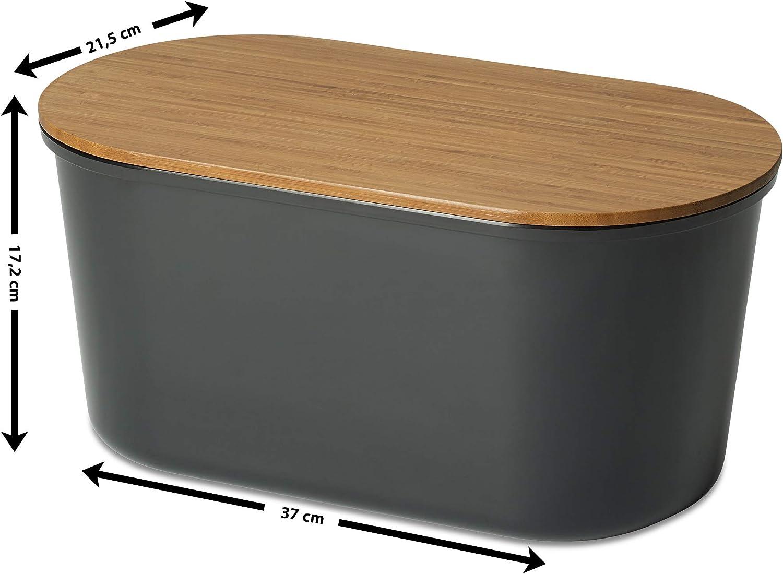 in Legno di Acacia//melamina Echtwerk Pane Box Fresh Cestino per Il Pane Bianco 37/x 17/x 22/cm