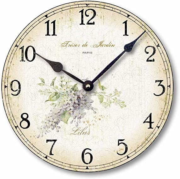 Fairy Freckles Studios Item C2000 Vintage Shabby Chic Style 10.5 Inch Lilacs Clock