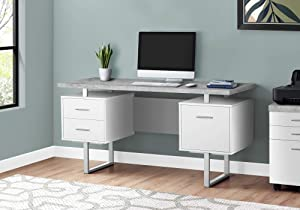 "Monarch Specialties Contemporary Style - Home & Office Writing Table with Drawers and Metal Legs Computer Desk, 60"" L, White/Cement-Look"