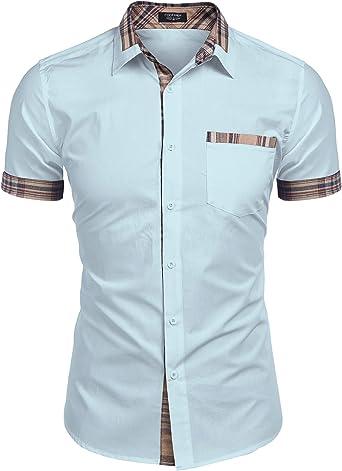 COOFANDY - Camisa de manga corta para hombre, monocroma, ajuste normal, cuello de Kent, azul claro, large: Amazon.es: Deportes y aire libre