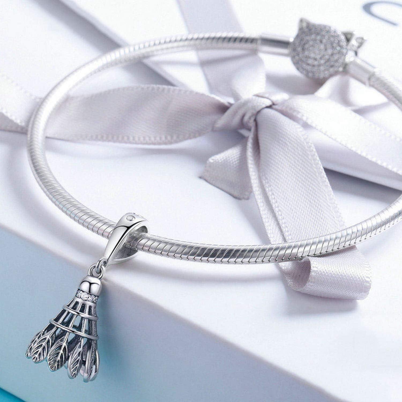 EverReena Sporty Badminton Shuttlecock Dangle Charm Silver Beads Bracelets