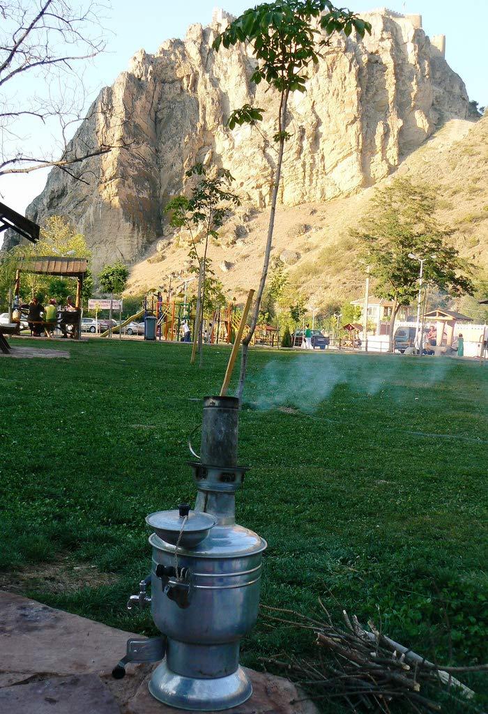 Bayraktar Semaver Stainless Steel Chrome Turkish Tea Kettle Samovar Camping Heater Boiler by Bayraktar