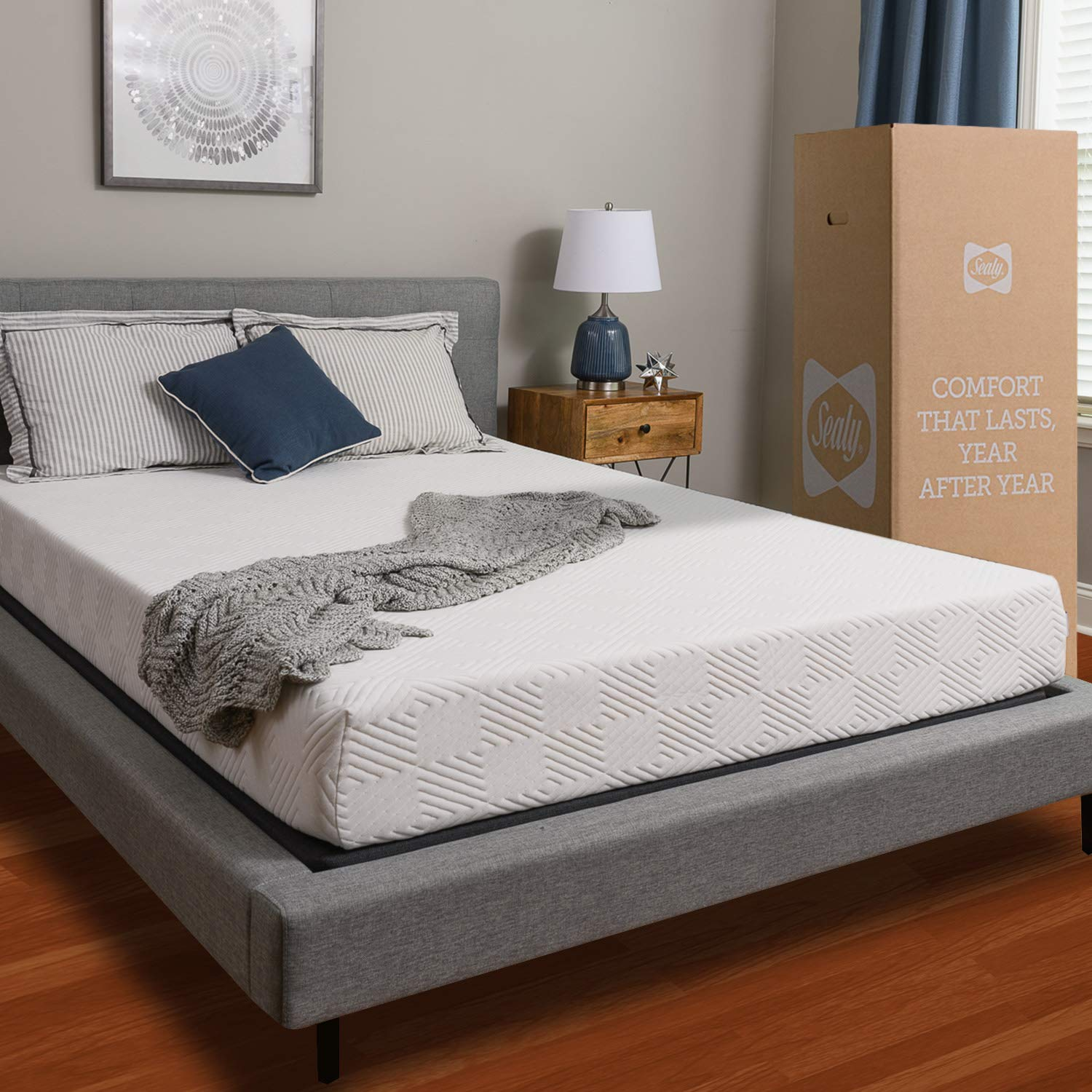 Sealy 8-Inch Memory Foam Bed in a Box, Medium-Firm, Twin by Sealy
