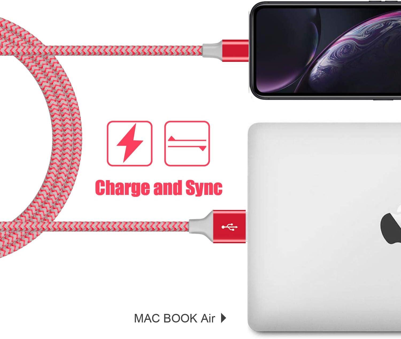 Carga R/ápida Compatible para iPhone SE 11 Pro XR XS X XS MAX 8 Plus 7 Plus 6s Plus iPad MFi Certificado iPhone Cable 2M 2Pack iPhone Cargador Nylon Trenzado Avoalre Cable Lightning Champ/án