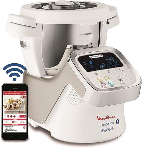 Moulinex i-Companion HF9001 - Robot de cocina Bluetooth 13 programas y 6 accesorios capacidad 6 personas, incluye cuchilla picadora, batidor, mezclador, amasador, triturador y cesta de vapor: Amazon.es: Hogar