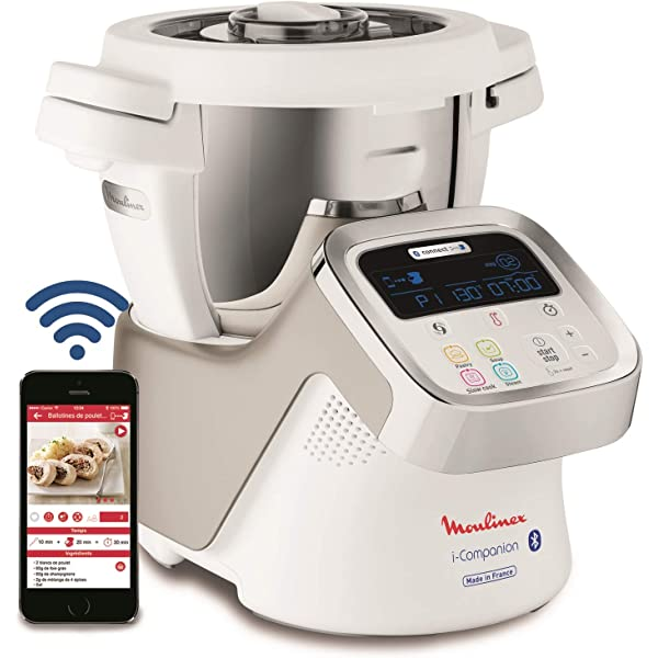 Moulinex i-Companion HF900110 - Robot de cocina Bluetooth 13 programas, 6 accesorios capacidad 6 personas, cuchilla picadora, batidor, mezclador, amasador, triturador, cesta de vapor, bol para bebés: Amazon.es: Hogar