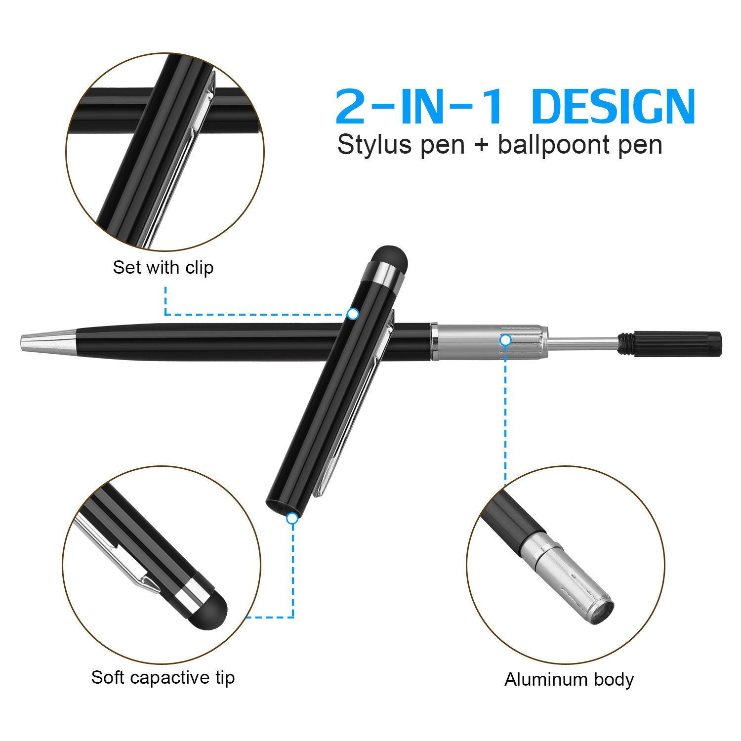 Stylus Pen,Proking 2 in 1 Capacitive Stylus Ballpoint Pen for Universal Touch Screens Devices Stylus Pens for iPad,iPhone,Kindle,Samsung,HTC,Tablets (Black,White)