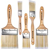 5pcs - Premium Bristle Paint Brushes Set - 4 inch, 3 inch, 2 inch, 1.5 inch, 1 inch