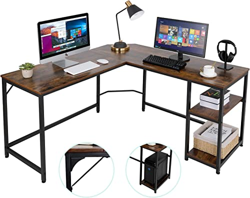 AuAg L-Shaped Computer Desk Home Office Corner Table Industrial Gaming Writing Desk Office Study Workstation