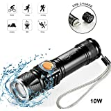 Leacoco Flashlights Led Bright MINI USB Rechargeable Camping Flashlights with Lanyard Adjustable Focus and 5 Light Mode Outdoor Water Resistant for Camping Hiking and Emergency etc. (Black)