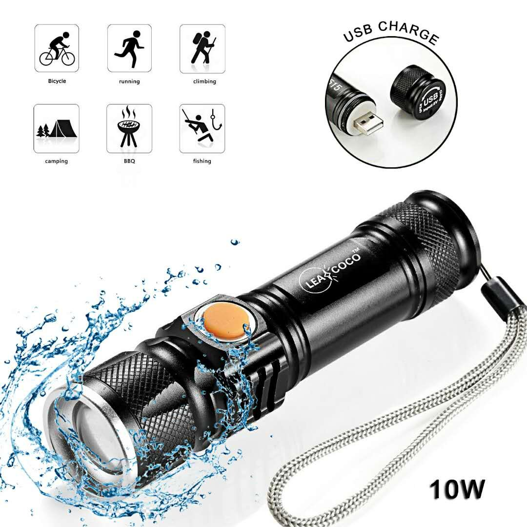 LEACOCO Flashlights Led Bright MINI USB Rechargeable Camping Flashlights with Lanyard Adjustable Focus and 5 Light Mode Outdoor Water Resistant for Camping Hiking and Emergency etc. Black