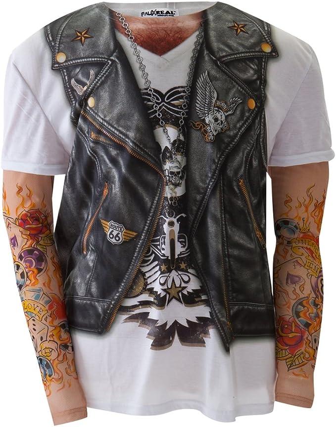 Sintética Real – para Hombre Disfraz de Motero con Tatuajes Manga ...