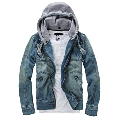2018 New Brand Foreign Male Fashion Denim Jacket Detachable Hooded