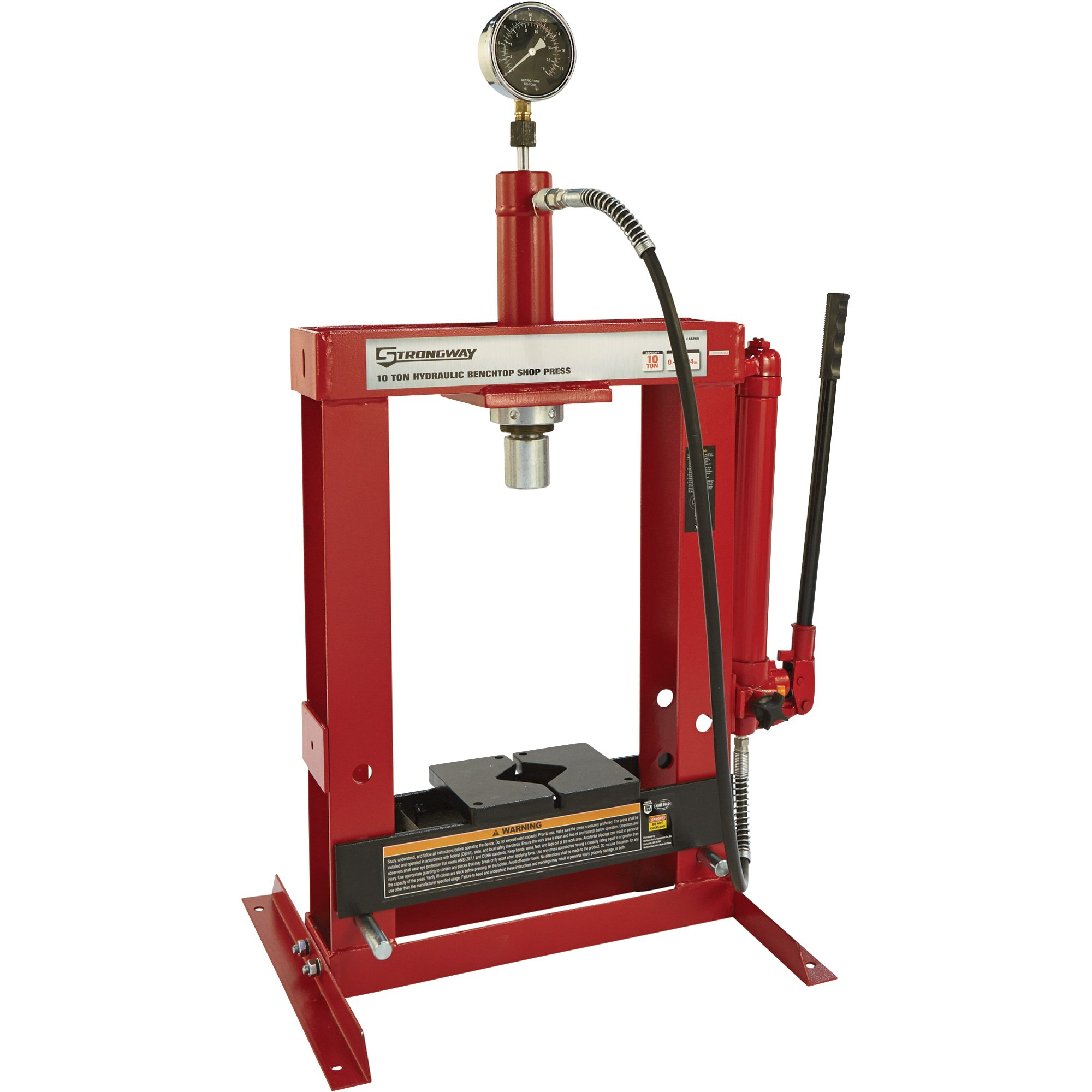 Strongway Hydraulic Shop Press with Gauge - 10-Ton Capacity by Strongway (Image #2)