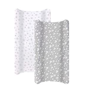 Biloban Changing Pad Cover,100% Cotton Jersey Knit Soft Changing Pad Cover,Changing Pad Covers Grey/White for Girls Boys,2 Pack