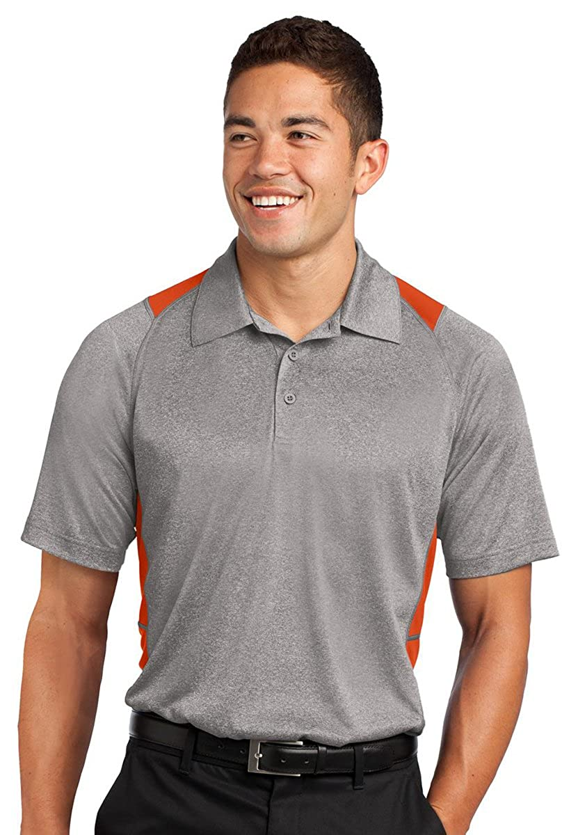 Sport Tek Mens Colorblock Contender Polo Shirt/_Vnt He//Dp Orng/_XXX-Large