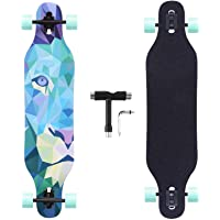 BOCIN 41 inch Freeride Longboard Drop Through Skateboard 8 Ply Canadian Maple Complete Cruiser for Cruising, Carving…