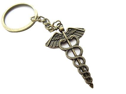 Caduceus Keychain, Medical Caduceus Keychain, Medical Keychain, RN Keychain, Medical Symbol, Medical Caduceus