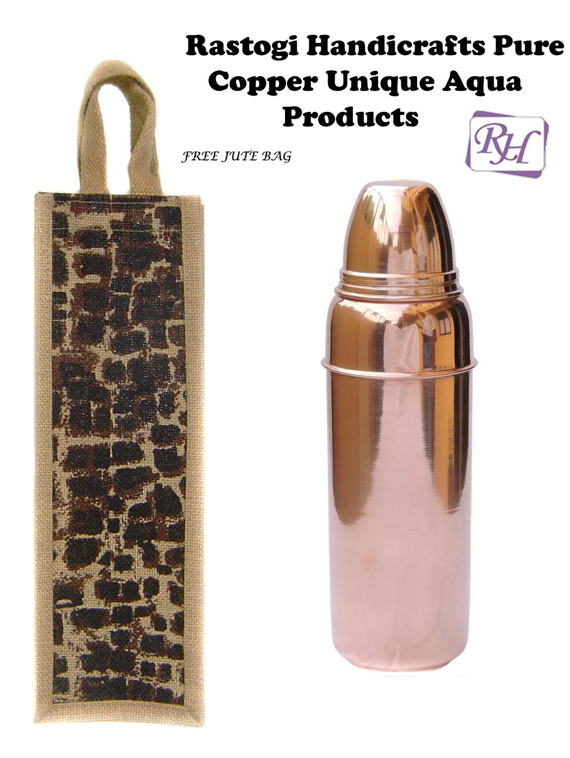 Handmade Indian Copper Water Bottle with Lid