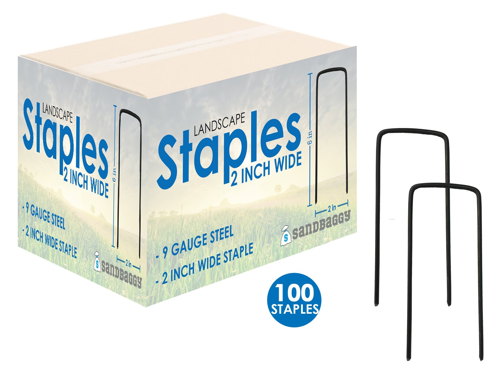 Sandbaggy 6'' Long x 2'' Wide EXTRA WIDE Landscape Staples~ Landscape Fabric Pins -Garden Staples Heavy Duty - Ground Cover Staples - Fence Anchors - Lawn Nails - Garden Stakes (100 Staples)